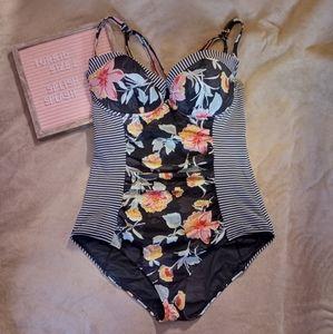 Torrid Size 2 Floral Stripe Black Swimsuit